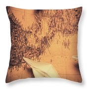 Origami Boats On World Map Throw Pillow