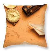 Origami Paper Boats On A Voyage Of Exploration Throw Pillow