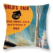Original 1962 Seattle Worlds Fair Promotion Throw Pillow