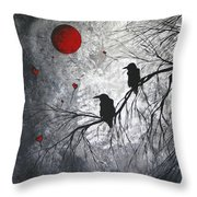 Original Abstract Surreal Raven Red Blood Moon Painting The Overseers By Madart Throw Pillow