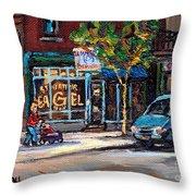 Original Art For Sale Montreal Petits Formats A Vendre Boulangerie St.viateur Bagel Paintings  Throw Pillow