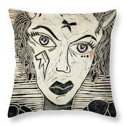 Original Devil Block Print Throw Pillow