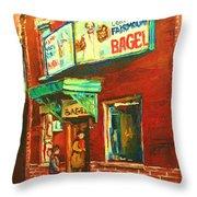 Original Fairmount Bagel Throw Pillow
