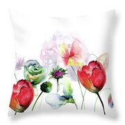 Original Floral Background With Flowers Throw Pillow