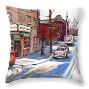 Original Montreal Paintings For Sale Tableaux De Montreal A Vendre Pointe St Charles Scenes Throw Pillow