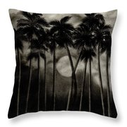 Original Moonlit Palm Trees  Throw Pillow