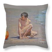 Original Oil Painting Art Male Nude Gay Boy On Linen#16-2-5-09 Throw Pillow