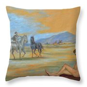 Original Oil Painting Art Male Nude With Horses On Canvas #16-2-5 Throw Pillow