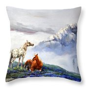 Original Oil Painting On Canvas Two Horses Throw Pillow