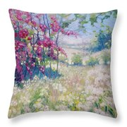 Original Oil Painting - Spring Meadow In Sussex Throw Pillow