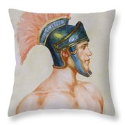 Original Watercolour Painting Art Male Nude Portrait Of General  On Paper #16-3-4-19 Throw Pillow