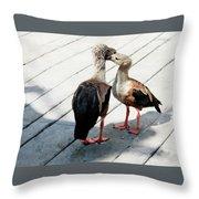 Orinoco Geese Touching Heads On A Boardwalk Throw Pillow