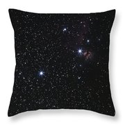 Orions Belt, Horsehead Nebula And Flame Throw Pillow by Luis Argerich