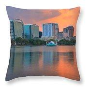 Orlando Cityscape Sunset Throw Pillow