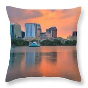 Orlando Skyscrapers And Palm Trees Throw Pillow