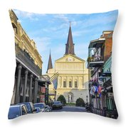 Orleans Street And St Louis Cathedral Throw Pillow