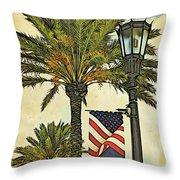 Ormond Beach Patriotic Throw Pillow