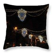 Ornamental Design Christmas Light Decoration In Madrid, Spain Throw Pillow