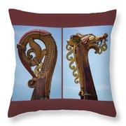 Ornamental Dragon Diptych Throw Pillow