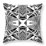 Ornamental Intersection - Abstract Black And White Graphic Drawing Throw Pillow