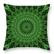 Ornamented Mandala In Green Tones Throw Pillow