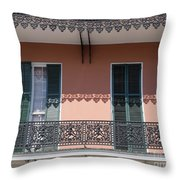 Ornate Balcony In New Orleans Throw Pillow