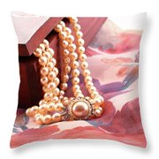 Ornate Box Carved And Pearl Necklace Detail Throw Pillow