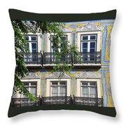 Ornate Building Facade In Lisbon Portugal Throw Pillow