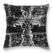 Ornate Cross 3 Bw Throw Pillow