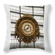 Ornate Orsay Clock Throw Pillow