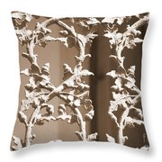 Ornate Railing In Sepia Throw Pillow
