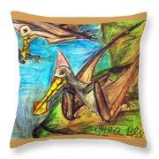 Ornithocheirus By The Sea Throw Pillow