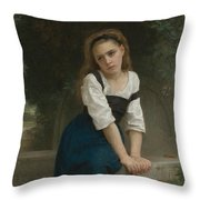 Orphan At The Fountain Throw Pillow
