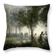 Orpheus Leading Eurydice From The Underworld Throw Pillow
