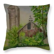 Orth Rd Barn Throw Pillow