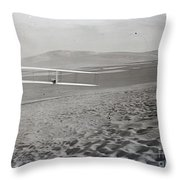 Orville Making Right Turn Showing Warping Of Wings Hill Visible In Front Of Him Kitty Hawk North Car Throw Pillow