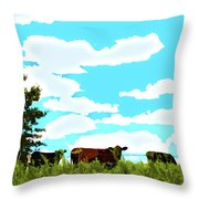 Osage County Cows Throw Pillow