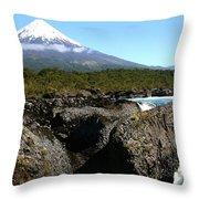 Osorno Volcano From Petrohue Falls Throw Pillow