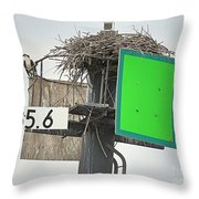Osprey At Its Nest In A Navigation Marker Throw Pillow