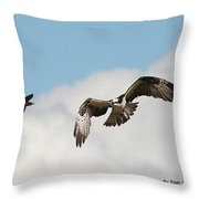 Osprey Botherd By Grackle Throw Pillow