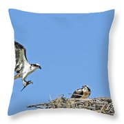 Osprey Brings Fish To Nest Throw Pillow
