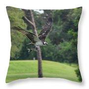 Osprey With Catch Throw Pillow