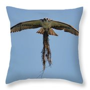 Osprey With Nesting Material 031620161500 Throw Pillow