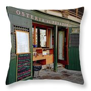 Osteria Al Pesador At The Rialto Market In Venice, Italy Throw Pillow