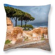 Ostia Antica - Strolling The Decuman Throw Pillow