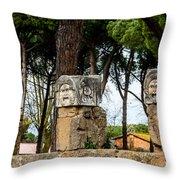 Ostia Antica - Theatre Marble Masks Throw Pillow