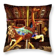 Ostrich Carousel Ride Throw Pillow