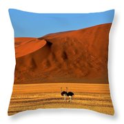 Ostriches At Sossusvlei Throw Pillow