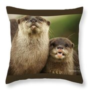 Otter And Cub Throw Pillow