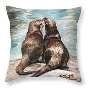 Otter Buddies Throw Pillow